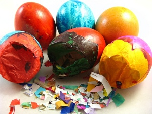 Cascarones: empty eggshells filled with confetti, glitter, flour, etc and smashed over loved ones heads in celebration of... being Mexican? I don't know, it's a Hispanic thing, I think. Image: nystarcards.blogspot.com